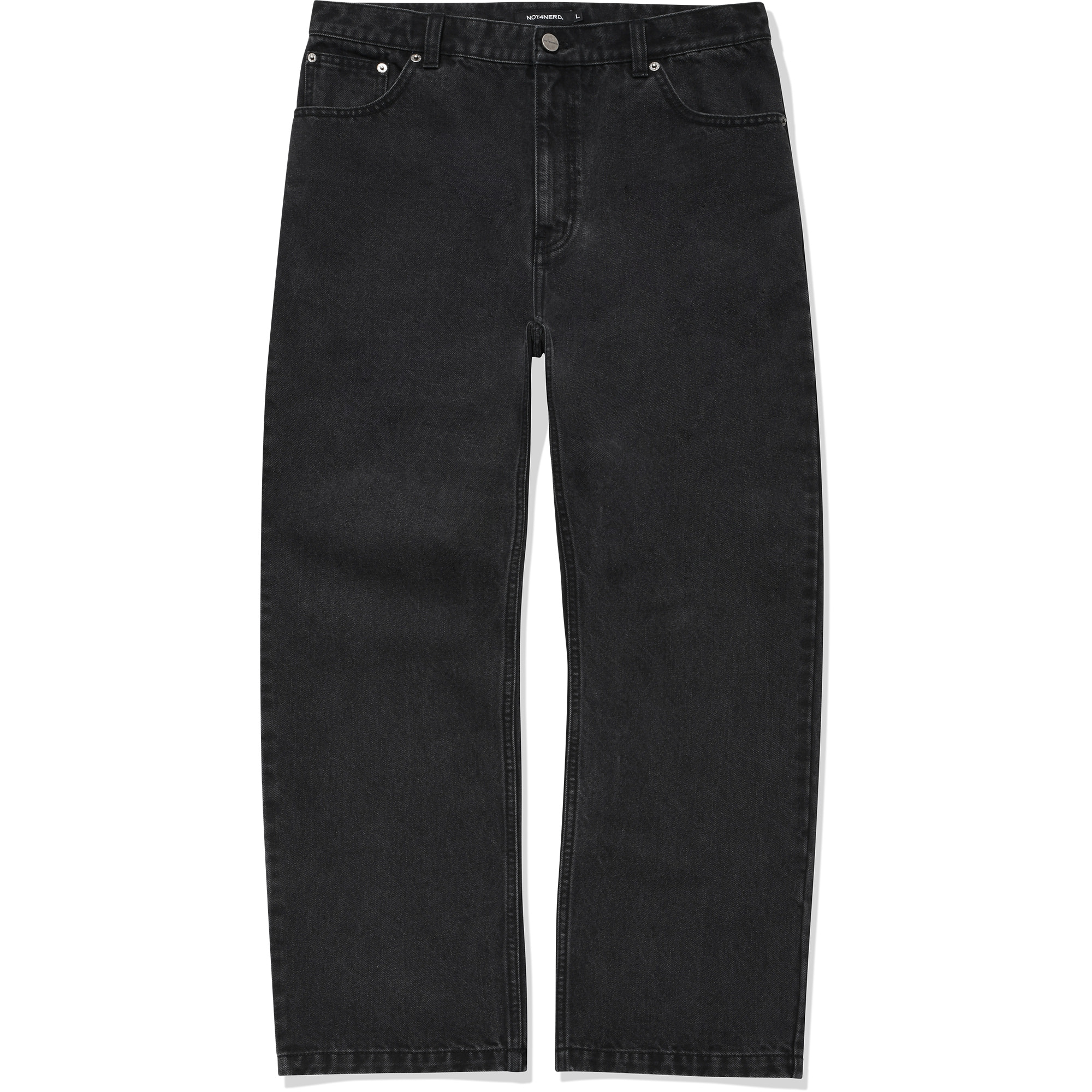Card Wallet Wide Denim Pants[Black],NOT4NERD