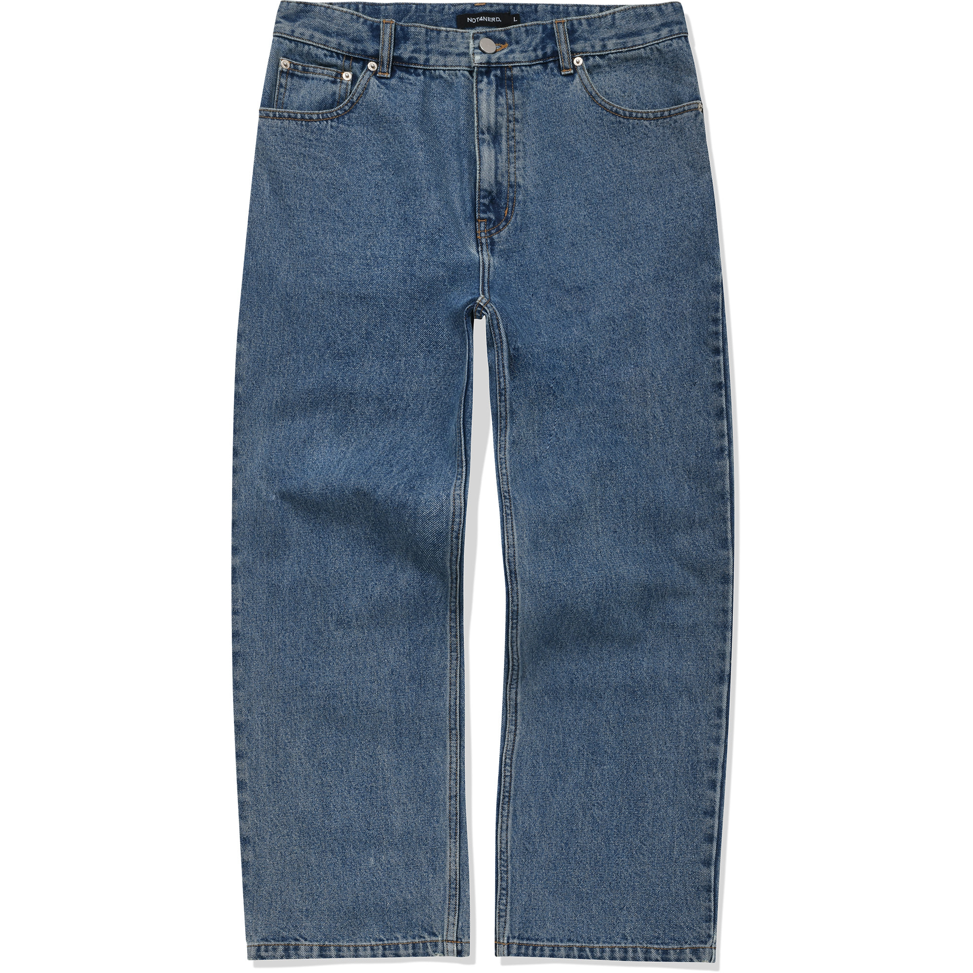 Card Wallet Wide Denim Pants [Deep Blue],NOT4NERD