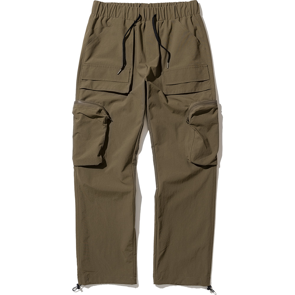 Nylon Utility Zipper Cargo Pants Brown Khaki,NOT4NERD