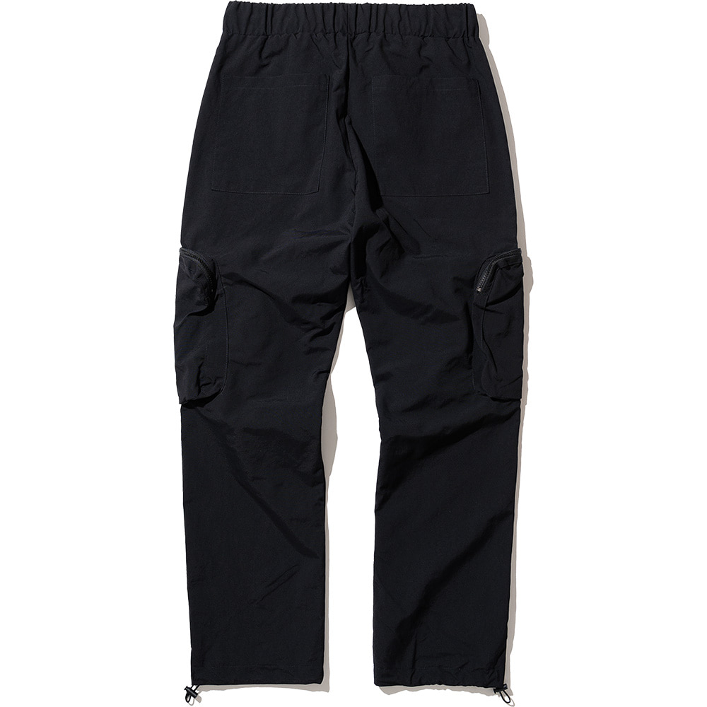 Nylon Utility Zipper Cargo Pants Black,NOT4NERD