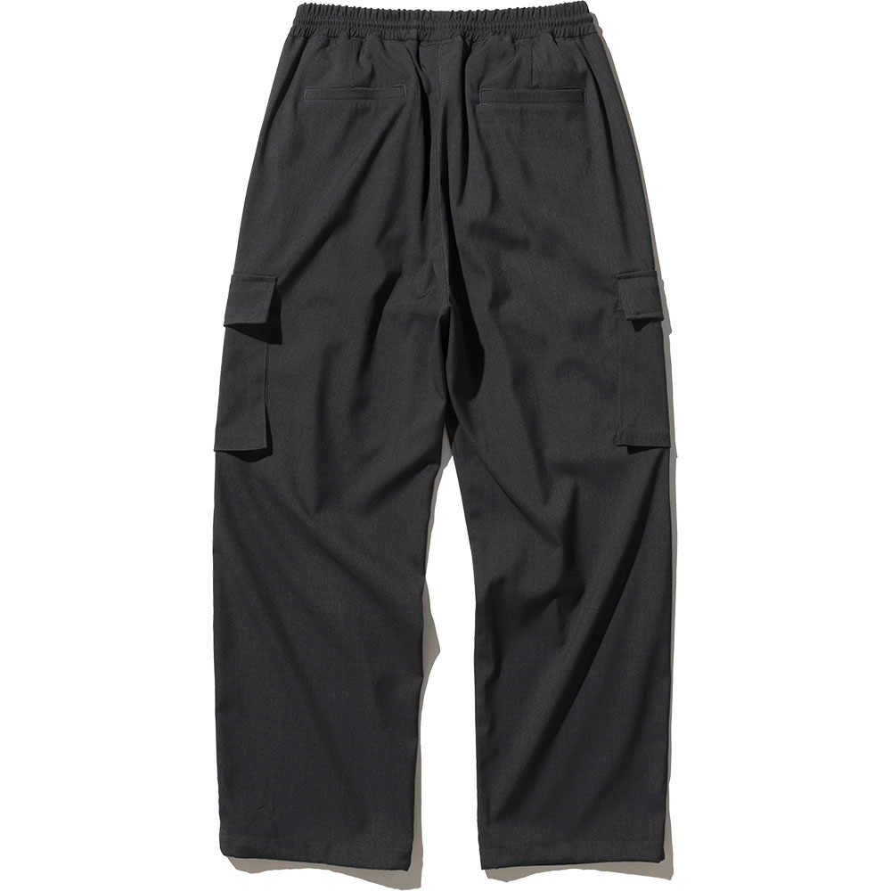 Wide String Cargo Slacks Pants - Charcoal,NOT4NERD